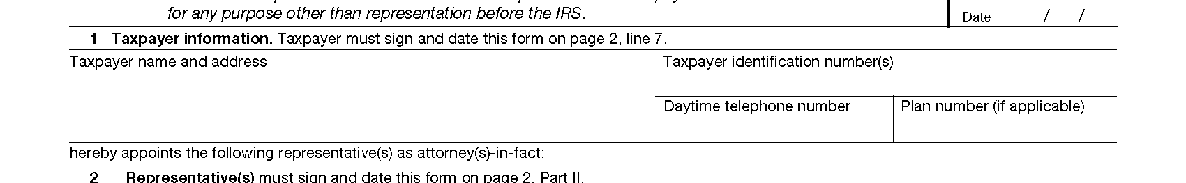 2848 Taxpayer Info